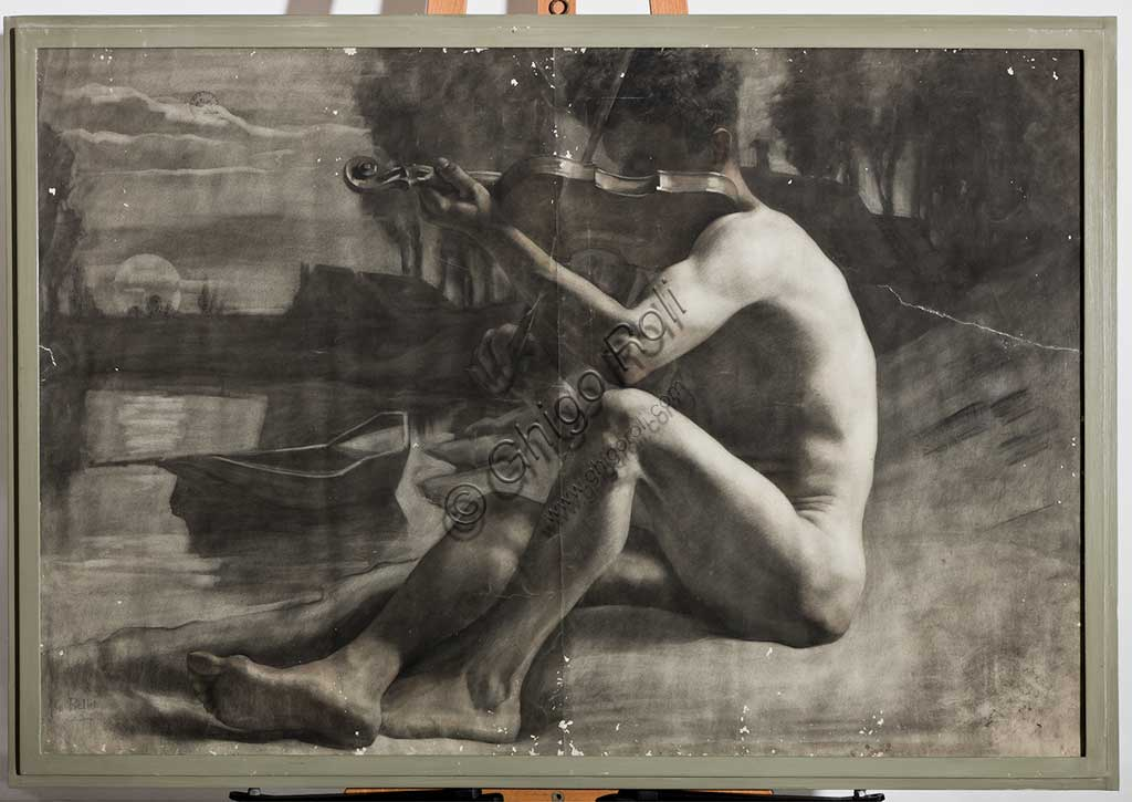"Assicoop - Unipol Collection: Gaetano Bellei (1857 - 1922); ""Male Figure, Nude""; charcoal, cm. 79 x 118."
