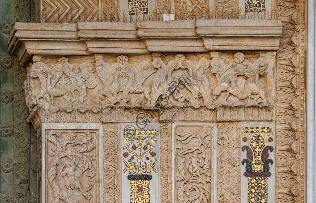 Cathedral of Monreale, main portal: detail with anthropomorphic figures and animals.