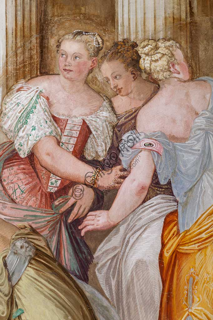 """Thiene, Villa Porto Colleoni (also known as Castle in Thiene), Camerone: """"The Clemency of Scipio"""", frescoes by Giovanni Antonio Fasolo (c. 1560-1565). Detail with female figures."""