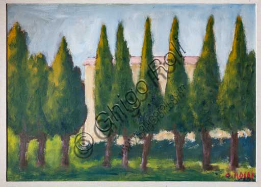 "Palermo, The Royal Palace or Palazzo dei Normanni (Palace of the Normans), The Royal Apartment, Room of the General Secretary, Collection of paintings: ""Row of Cypresses"", painting by Ottone Rosai, XX century."