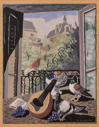 """Museo Novecento:""""La finestra coi colombi"""", di Gino Severini, 1931. Tempera su carta."""