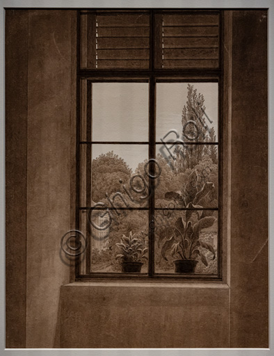 """Caspar David Friedrich, """"Window with a view of a park""""; 1836-7, graphite and sepia on paper."""