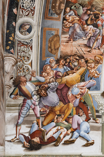 """Orvieto,  Basilica Cathedral of Santa Maria Assunta (or Duomo), the interior, Chapel Nova or St. Brizio Chapel, northern wall: """"Pandemonium"""" fresco by Luca Signorelli, (1500 - 1502). Detail. On the left the supernatural events begin, while in the distance wars and murders multiply. It deals with the arrival of monstrous winged demons, from whose hands and mouths a fiery rain is emitted that invests a multitude of terrified people, who is pouring on the stalls outside the border of the painted arch. Particularly effective and well preserved is the tangle of seven young men in the foreground, with flashy clothes, dead or in the act of succumbing, followed by two mothers with their children and a group of young and old."""