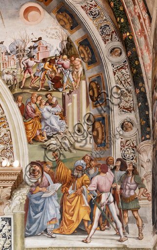 """Orvieto,  Basilica Cathedral of Santa Maria Assunta (or Duomo), the interior, Chapel Nova or St. Brizio Chapel, northern wall: """"Pandemonium"""" fresco by Luca Signorelli, (1500 - 1502). Detail. In the lower right corner, in the foreground, the Eritrean Sibyl reads her prophetic book together with the prophet David, noting the truth of the predictions at the advent of the Dies Irae. Behind them an earthquake causes a temple to collapse and the brigands triumph in anarchy, stripping three young men. More in the distance, a biblical tsunami arrives to lift the ships on the waves, which are about to threaten the city; in the sky the sun and the moon are ominously darkened."""