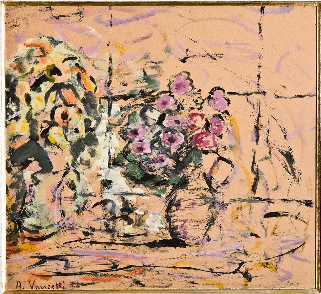 "Assicoop - Unipol Collection: Alfredo Vanzetti, ""Flowers""; oil on cardboard."