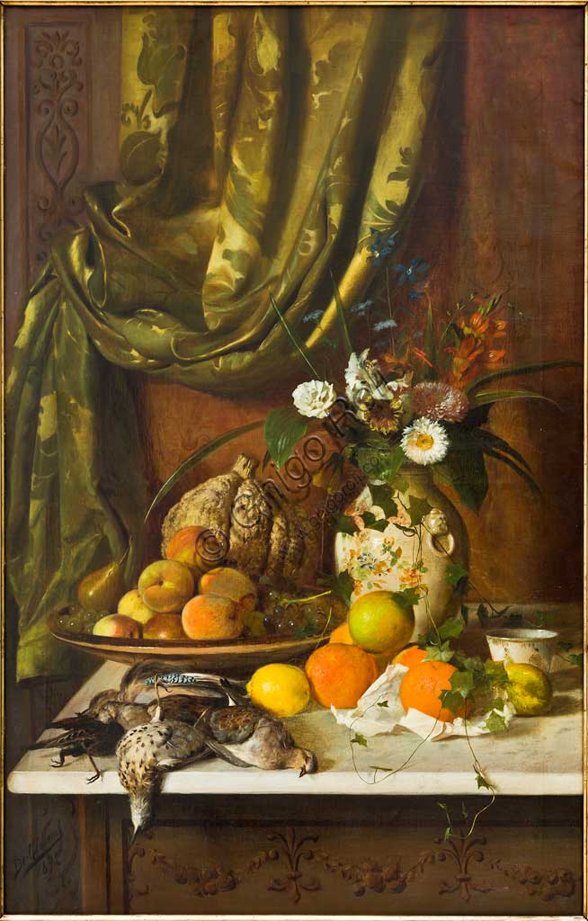 "Assicoop - Unipol Collection:  Eugenio De Giacomi (1852-1917); ""Flowers, Fruit and Game""; oil on canvas; 120 x 75 cm."