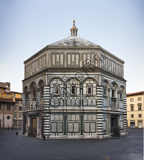 Florence, the Baptistery of St. John, exterior: the North  Eastern façade in Carrara white marble and green Prato marble with the doors by Lorenzo Ghiberti. On the east side, there is the Door of Paradise