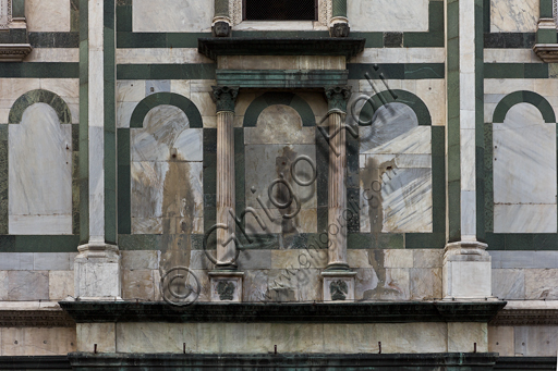 Florence, the Baptistery of St. John, exterior, the Northern façade in Carrara white marble and green Prato marble: detail.