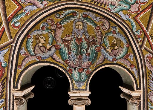 Firenze, Battistero di San Giovanni, i matronei, galleria est,   terza tribuna (delle Vergini Sante):  mosaici dell'ambiente del Maestro di San Gaggio e del Maestro di Santa Cecilia (circa 1300-1310).