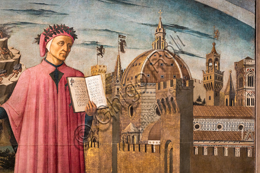 """Florence, Cathedral of Santa Maria del Fiore (Duomo): """"The Divine Comedy illuminates Florence"""", also known as """"Dante Alighieri's Divine Comedy"""". Fresco by Domenico di Michelino (1465), designed by Alessio Baldovinetti,On the right: view of Florence, as an allegory of Paradise; it is one of the first views with the dome of the cathedral completed. In the centre, Dante holding the book with the opening words of the Divine Comedy. Detail."""