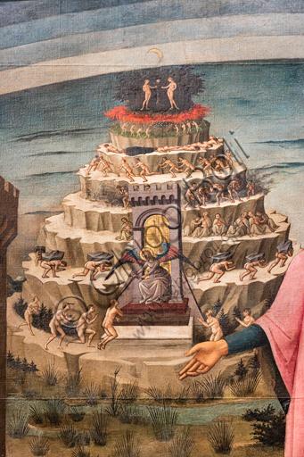 """Florence, Cathedral of Santa Maria del Fiore (Duomo): """"The Divine Comedy illuminates Florence"""", also known as """"Dante Alighieri's Divine Comedy"""". Fresco by Domenico di Michelino (1465), designed by Alessio Baldovinetti,Detail of the Purgatory hill."""