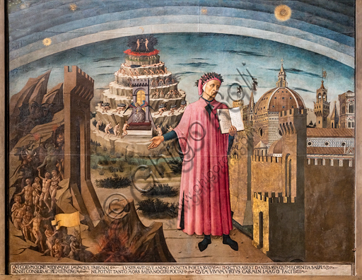 """Florence, Cathedral of Santa Maria del Fiore (Duomo): """"The Divine Comedy illuminates Florence"""", also known as """"Dante Alighieri's Divine Comedy"""". Fresco by Domenico di Michelino (1465), designed by Alessio Baldovinetti,On the right: view of Florence, as an allegory of Paradise; it is one of the first views with the dome of the cathedral completed. In the centre, Dante holding the book with the opening words of the Divine Comedy. On the left, the Purgatory hill and the Hell."""