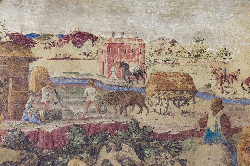 Ferrara: Palazzo Schifanoia, Hall of the Months, Lower section: Life scenes of Borso d'Este's court,   on a project by Cosmé Tura e realised by painters of the Ferrara school, about 1468 - 1470. Detail with river and country life.