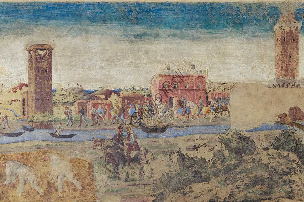 Ferrara: Palazzo Schifanoia, Hall of the Months, Lower section: Life scenes of Borso d'Este's court,   on a project by Cosmé Tura e realised by painters of the Ferrara school, about 1468 - 1470. Detail with river, towers and country life.