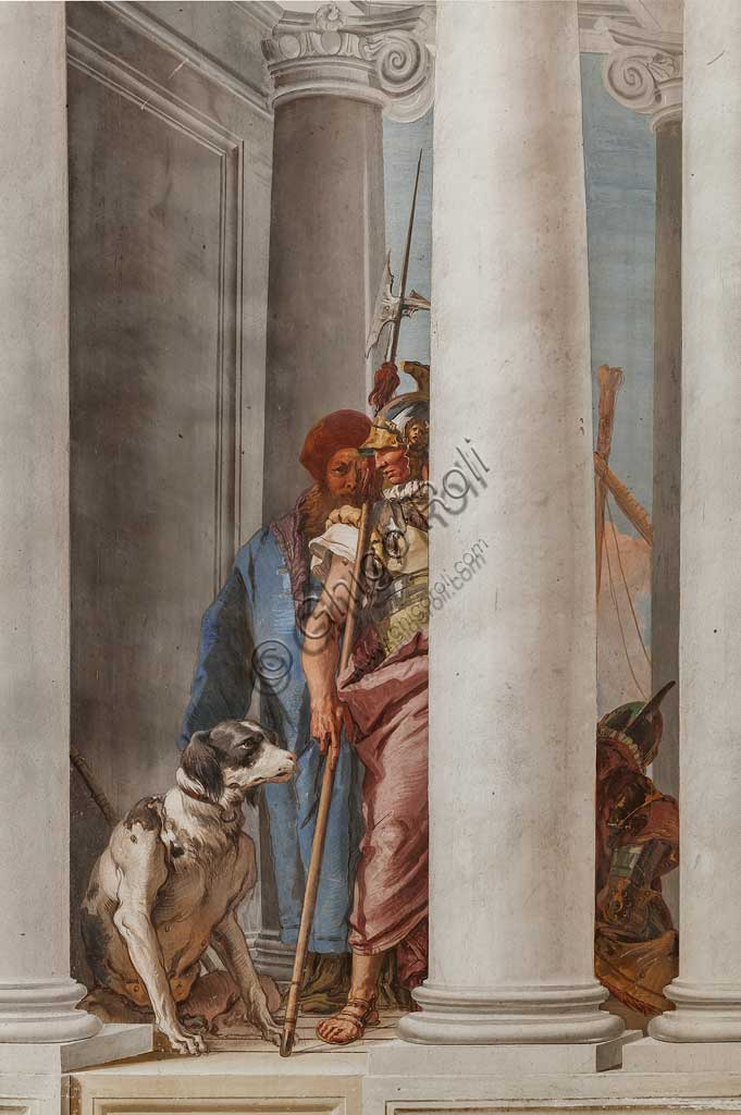 "Vicenza, Villa Valmarana ai Nani, Palazzina (Small Building), the entrance hall: ""The Greek Fleet in Aulide"". Detail representing a dog and a soldier, by Giambattista Tiepolo,  1757."