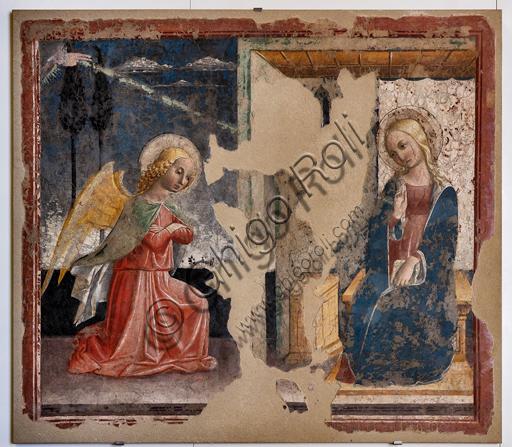 Foligno, Trinci Palace: Annunciation, detached fresco by Niccolò di Liberatore known as l'Alunno,  XV century.