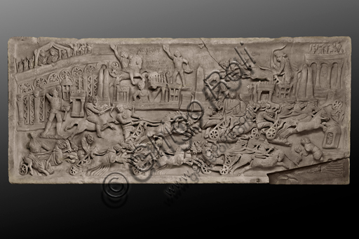 Foligno, Trinci Palace, Archaelogical Collection: slab with chariot race in the Circus Maximus of Rome (II - III century a.C).