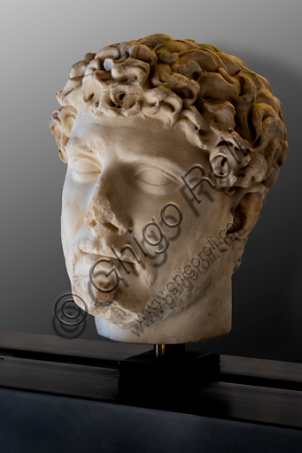 Foligno, Trinci Palace, Archaelogical Collection: one of the seven Roman heads that in the Middle Ages had been placed outside the painted Loggia to symbolize the Seven Ages of Man.  Portrait of Emperor Adrian, or the Youth (II century a.C).