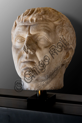 Foligno, Trinci Palace, Archaelogical Collection: one of the seven Roman heads that in the Middle Ages had been placed outside the painted Loggia to symbolize the Seven Ages of Man.  Virile Portrait, or Maturity (1st century a.C).