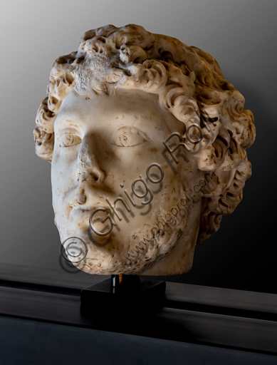 Foligno, Trinci Palace, Archaelogical Collection: one of the seven Roman heads that in the Middle Ages had been placed outside the painted Loggia to symbolize the Seven Ages of Man.  Portrait of young man, or the Adolescence (II century a.C).