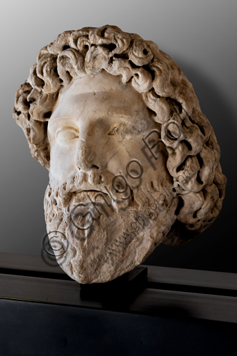 Foligno, Trinci Palace, Archaelogical Collection: one of the seven Roman heads that in the Middle Ages had been placed outside the painted Loggia to symbolize the Seven Ages of Man.  Portrait of Zeus or Aesculapius or Pluto, or Old Age (1st century a.C).