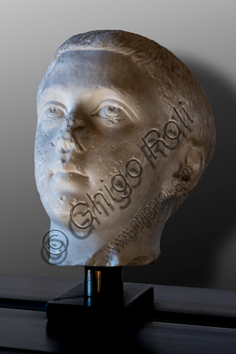 Foligno, Trinci Palace, Archaelogical Collection: one of the seven Roman heads that in the Middle Ages had been placed outside the painted Loggia to symbolize the Seven Ages of Man.  Portrait of Philip junior, or Childhood (III century a.C).