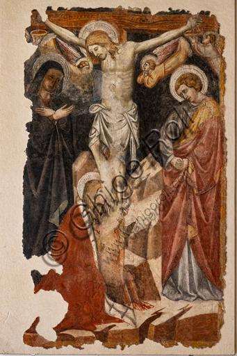 Foligno, Trinci Palace: Crucifixion, by Giovanni di Corraduccio di Galasso, known as il Mazzaforte, detached fresco, 1428.