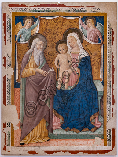 Foligno, Trinci Palace: Madonna and Infant Jesus and St. Simeon, detached fresco by Pierantonio Mezzastris, second half of the XV century.