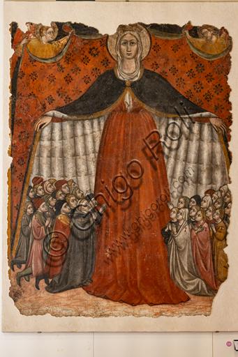 Foligno, Trinci Palace: Our Lady of Mercy, by Giovanni di Corraduccio di Galasso, known as il Mazzaforte, detached fresco, 1428.