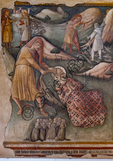 Foligno, Trinci Palace: Madonna of Loreto, Martyrdom of St. Barbara, Franciscan Saint and the devoted worshippers, detached fresco, 1449. Detail.