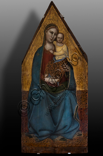 Foligno, Trinci Palace: Enthroned Madonna and Infant Jesus, tempera painting on panel, attributed to Orcagna, 1343 - 1368.