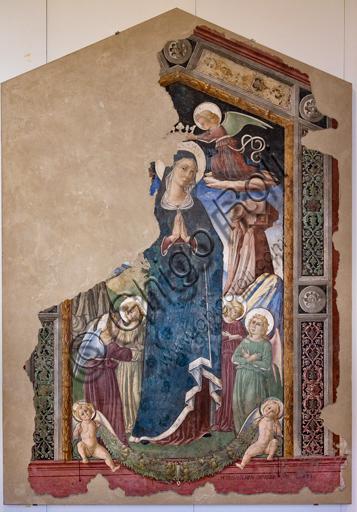 Foligno, Trinci Palace: Madonna crowned by angels, detached fresco by Pierantonio Mezzastris, 1486.