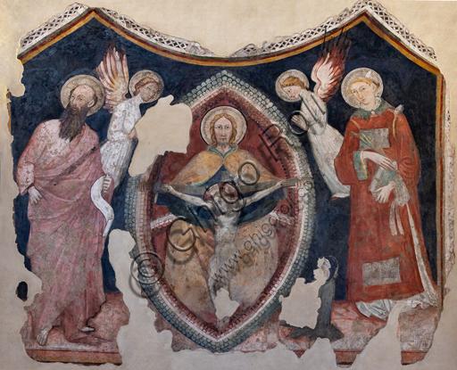 Foligno, Trinci Palace: Trinity inside vesica piscis, St Paul, St. Stephen, two angels and worshipper, detached fresco, end XIV century.