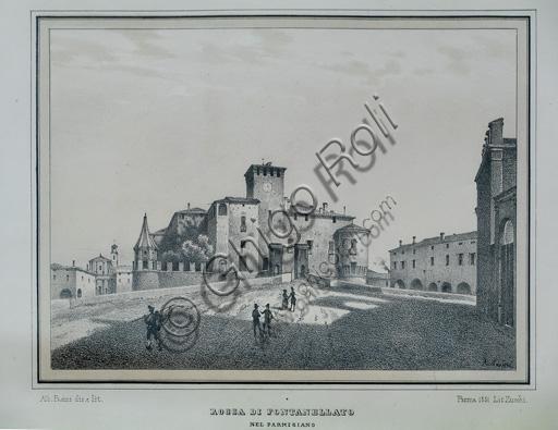 Fontanellato, Rocca Sanvitale: incisione ottocentesca che rappresenta la fortezza