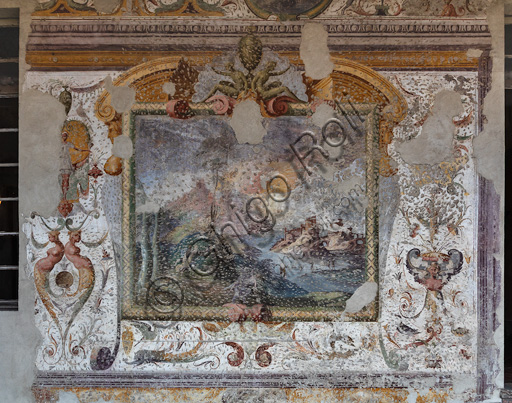 Fontanellato, Rocca Sanvitale, the lodge of the fortress: fresco.