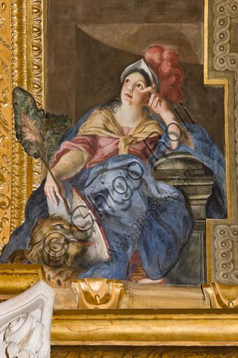 """Genova, Duomo (Cattedrale di S. Lorenzo),  interno, Cappella Senarega o di Nostra Signora del Soccorso (abside meridionale), volta: """"Fortezza"""", di Giovanni Andrea Carlone (1690 circa)."""