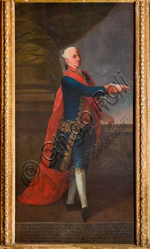 "Palermo, The Royal Palace or Palazzo dei Normanni (Palace of the Normans), The Royal Apartment, The Viceroy Room: ""Francesco d'Aquino, Vicery from 1786 to 1795; oil painting attributed to Giuseppe Velasques (1750-1827)."