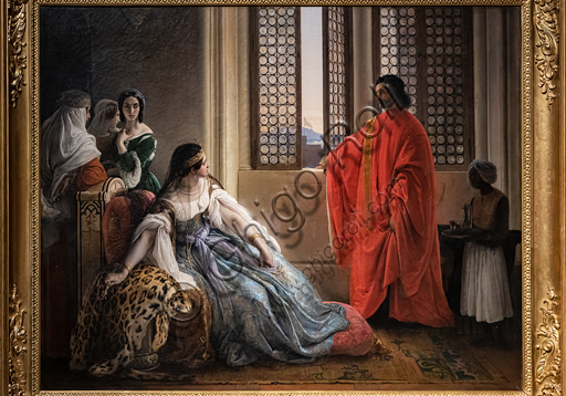 """Francesco Hayez: """"Giorgio Cornaro, sent to Cyprus by the Republic of Venice,  informs Queen Caterina Cornaro, one of his relatives, that she is no longer owner of her reign as the Lion standard is waving on the isle fortress""""; oil painting, 1842."""