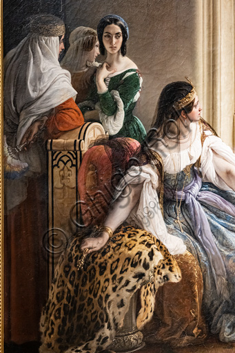 """Francesco Hayez: """"Giorgio Cornaro, sent to Cyprus by the Republic of Venice,  informs Queen Caterina Cornaro, one of his relatives, that she is no longer owner of her reign as the Lion standard is waving on the isle fortress""""; oil painting, 1842. Detail."""