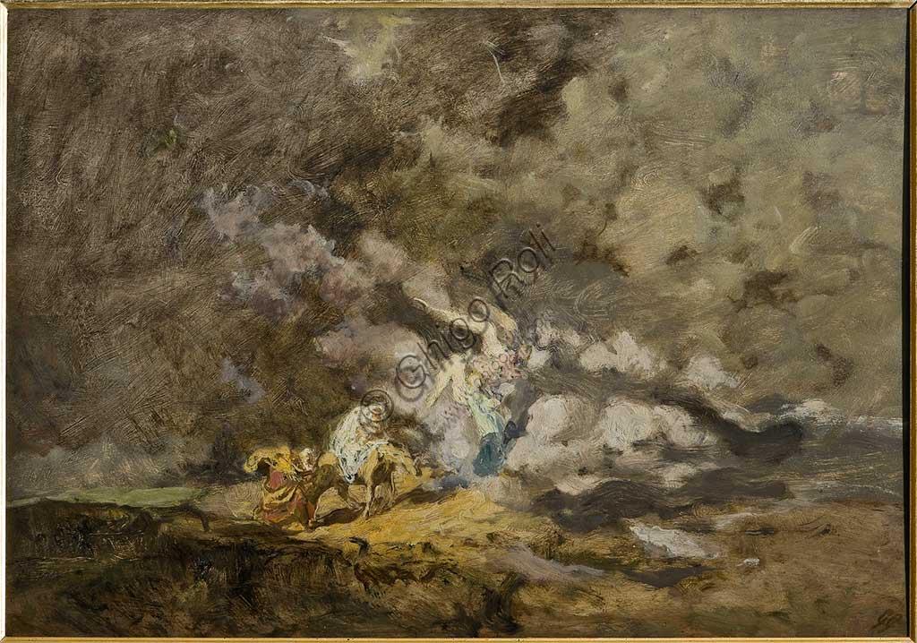 """Collezione Assicoop / Unipol : Giuseppe Graziosi (1879-1942), """"Fuga in Egitto"""". Olio su compensato, cm 49,5 x 74."""