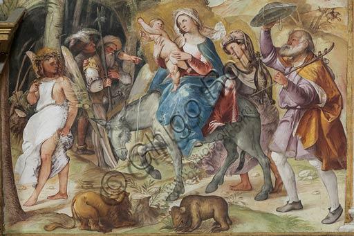 """Cremona, Duomo (Cattedrale di S. Maria Assunta), interno, presbiterio, settimo arcone: """"Fuga in Egitto"""", affresco di Altobello Melone, 1517."""