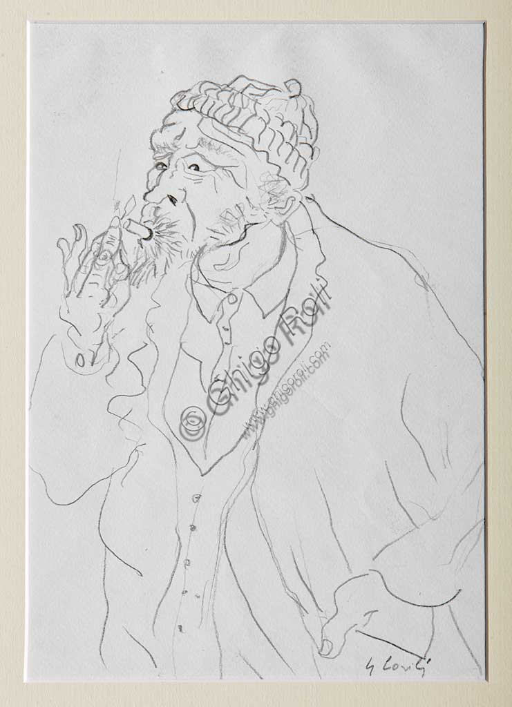 "Assicoop - Unipol Collection: Gino Covili, ""The Smoker"", pencil drawing."