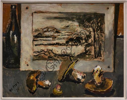 """Museo Novecento: """"Funghi con la stampa di Poussin"""", di Filippo De Pisis, 1927. Olio su cartone."""