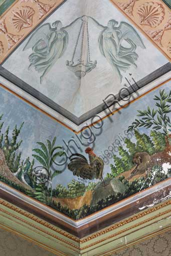 Palermo, The Royal Palace or Palazzo dei Normanni (Palace of the Normans), The Royal Apartment, the Birds Room, the frescoed vault: detail with rooster and plants.