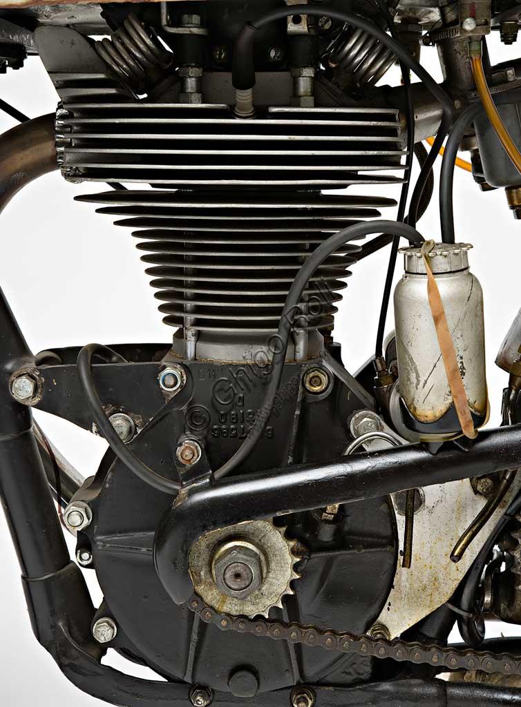 Ancient Motorbike Norton Manx GP 500. Engine.
