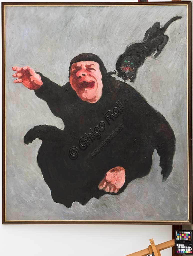 """Collezione Assicoop Unipol: Mario Venturelli (1925 - 1999); """"Il Gatto Nero""""; olio su tela, cm. 153 x 133."""