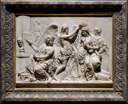"""""""Il Genio della Liberalità in atto di incoronare la Scultura alla presenza della Pittura e dell'Architettura"""""""", 1788-89, di Giacomo De Maria (1762 - 1838), marmo."""
