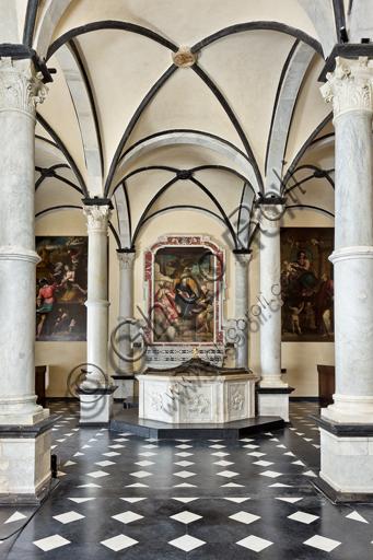 Genova, Duomo (Cattedrale di S. Lorenzo),  Battistero (già Chiesa di San Giovanni il Vecchio): veduta dell'interno.