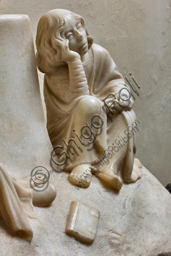 Genova, Duomo (Cattedrale di S. Lorenzo), Interno, Battistero (già Chiesa di San Giovanni il Vecchio): Crocefissione processionale in marmo bianco, di scultore ignoto.Particolare.