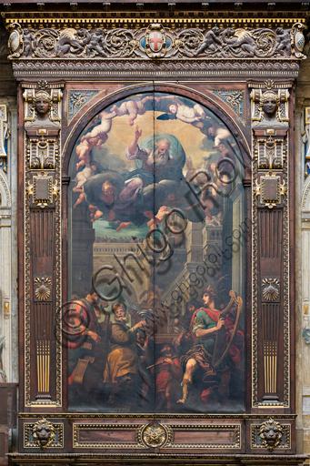 """Genova, Duomo (Cattedrale di S. Lorenzo),  interno, cappella Cybo (braccio settentrionale del transetto), organo a canne di Gaspare Forlani, ante chiuse: """"Davide danza suonando l'arpa davanti all'Arca dell'Alleanza"""", dipinto di  Giulio Benso, 1633-6."""